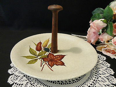 "Vintage Wood & Sons Handled Cake Plate  ""Autumn"""