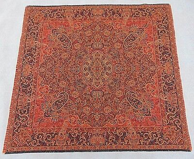 Persian Rug Style Miniature Paisley Art Silk Woven Termeh Tapestry Wall Hanging