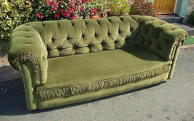 Antique Victorian Chesterfield Olive Green Velvet Settee Sofa - North Yorkshire