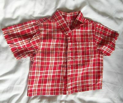 George Age 3-6 Months Baby Red Check Shirt with 4 Front Buttons 100% Cotton NWOT