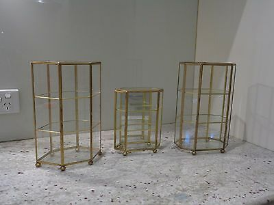 Brass & Glass Curio Miniature Ornaments Display Cabinets - One Mirrored Back