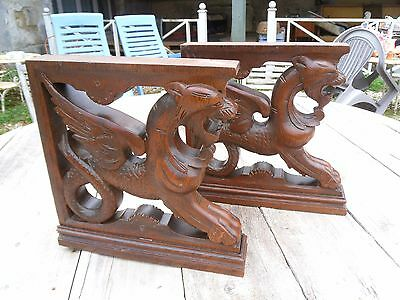 Antique French Architectural  2 Gothic Corbel Oak Carved Dragon Chimera Gargoyle