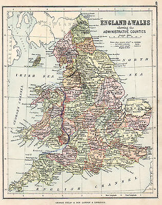 Map Of England and Wales Administrative Counties 1896 Original Antique Print