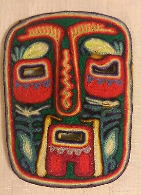 Mexican Huichol Painted Yarn Mask - Looks New! Bright Multi-Colored Yarn on Wood