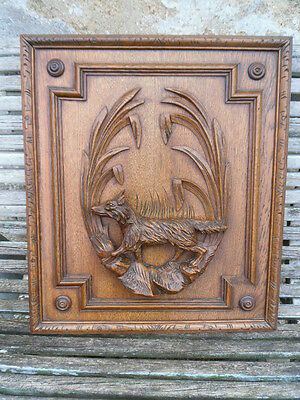 Antique French Large Oak Carved Wood Architectural Panel Door- fox scene 19th