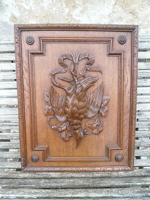 Antique French Large Oak Carved Wood Architectural Panel Door scene woodcock