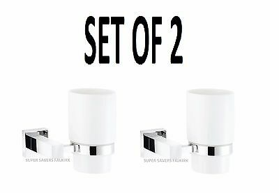Set of 2 Tumbler Holder Bathroom White Ceramic Toothbrush Rinse Cup/Glass
