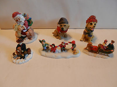 Vintage Lot of 6 Collectible Golden Retriever Christmas Figurines Rare