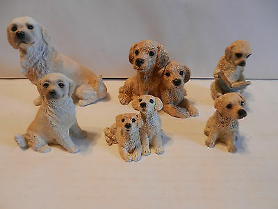 Mixed Lot of 6 Collectible Golden Retriever Stone Critter Figurines