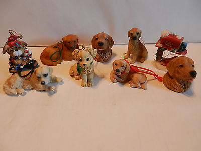 Vintage Lot of 9 Collectible Golden Retriever Christmas Ornaments Some Rare