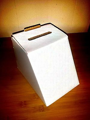 Cardboard Ballot Box with 5 x 7 Slanted Front - White