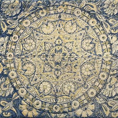 """Antique British India Textile Palampore Yellow And Blue Floral 100""""x68"""""""