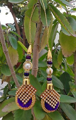 Indian Accessory Blouse Latkans Beaded Fashion Tassels Crafting Supply 1 Pair