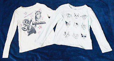 2 Cat Shirts Gap Kids Size M White Light Blue Long Sleeve Girls Medium T-Shirt