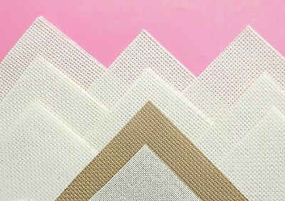 """10 pieces 14 count Aida cross stitch fabric mixed colours 5½"""" x 5½""""/ 14 cm (S"""
