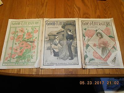 Vintage 1906 Good Literature Magazines - July, August and October