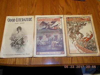 Vintage 1908 Good Literature Magazines - May, July and December