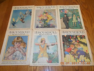 """Vintage 1930-1931 """"The Household Magazine"""" - June, July, August & Dec Issues"""
