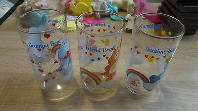 Vintage Care Bears Glass Cup Lot of 3! Bedtime, Grumpy, Friend Bear! 1984