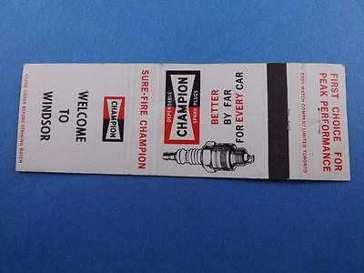 Champion Spark Plugs Welcome To Windsor Matchbook Vintage Car Truck Advertising