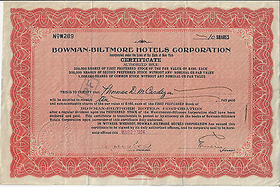 NEW YORK 1924 Bowman Biltmore Hotels Corp Stock Certificate Titanic Survivor
