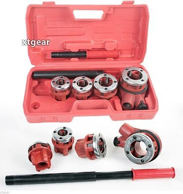"4PC Ratchet Handle Pipe Threader Steel Dies 1/2"" 3/4"" 1"" 1-1/4"" Pipe New HD"