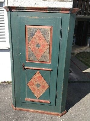 Stunning original old painted cupboard armoire alpine antique rustic chic