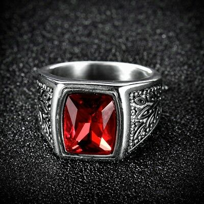 New Retro Square Red Garnet Crystal Stainless Steel Mens Wedding Rings Band