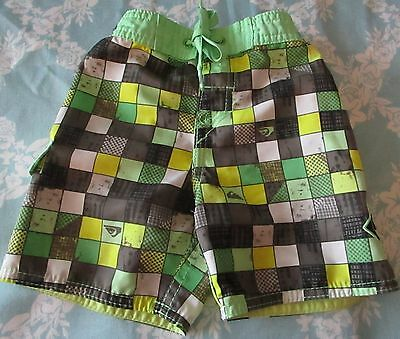 Quiksilver Baby Boy Cute Gray Green & Yellow Checkered Swim Trunks Size 12 mo