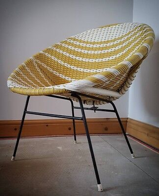 1950s Retro Tub Chair. Vintage Wicker Satellite Cone. Mustard Yellow 1960s Ratan