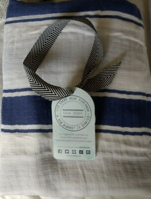 NEW XOve baby muslin swaddle blue stripe