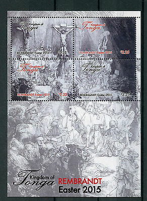 Tonga 2015 MNH Easter 4v M/S Art Paintings Rembrandt Stamps