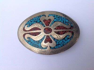 Vintage Sterling Belt Buckle Signed Little White Dove 1979 Turquoise Coral Inlay