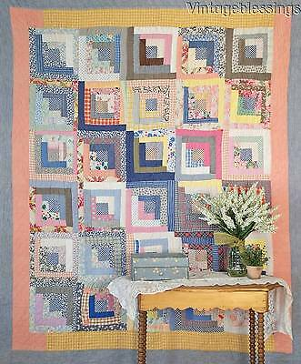 "Beautiful Blues! VINTAGE 30s Feedsack Log Cabin QUILT 81"" x 68"""