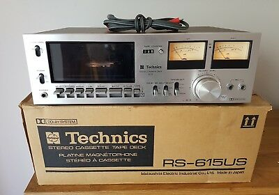 Technics RS-615US stereo cassette deck boxed with cables