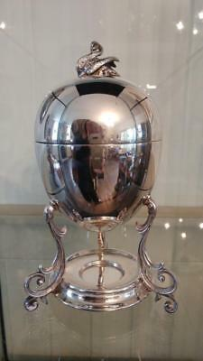 Elegant Antique Silver Plated Empire Style  Egg Coddler with Acorn Finial