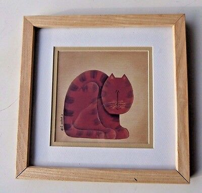 Fiddlestix Cat Series Primitive Cat Picture Wall Hanging Glass Framed Poster