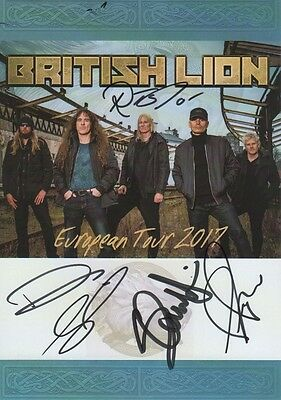 "British Lion ""feat. Steve Harris""  Autogramme full signed 15x21 cm Postkarte"