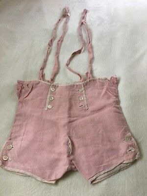 Vintage Childs Outfit Pink Linen Shorts Suspenders Buttons Snaps Lined!