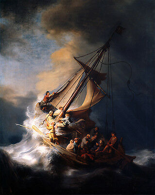 """1633 Painting, Rembrandt, Christ in the Storm on Lake Galilee 16""""x13"""" CANVAS ART"""