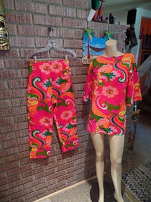 Women's Vintage 60's Waltah Clarke's Cotton Op Art Floral Tunic/Pants Set S/XS