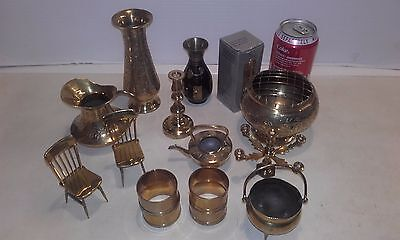 Bundle of brass ware, ornaments etc