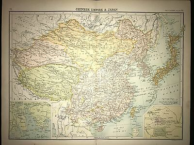 Original 1898 Antique Map of The Chinese Empire and Japan