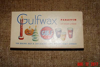 Vintage Gulfwax Gulf Paraffin Wax Jelly, Candles,sticking drawers 1/4 Pound Box