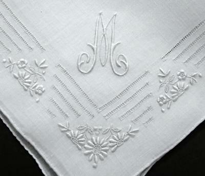 """Vintage Madeira Embroidery Linen Hanky """"M"""" Monogrammed - Gorgeous Floral Wedding"""