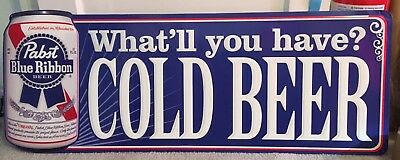 Pabst Blue Ribbon (Large) Tin Sign 14x37 Wow!