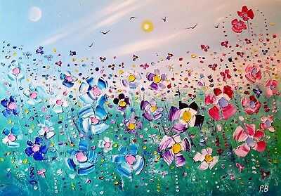 """""""Summer Meadow"""", large colourful, flowers, original oil painting, by Phil Broad"""