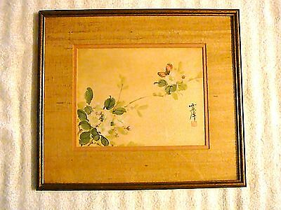 Hand Painted, Japanese Framed Floral Artwork, Original Painting, Really Pretty