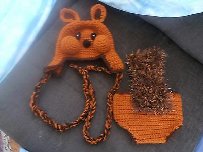 Baby squirrel hat and diaper cover 0-6mth or larger! Crocheted!