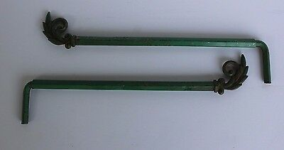 2 Antique 1930's Art Deco SCast Iron Finial Swing Arm Metal Curtain Drapery Rods